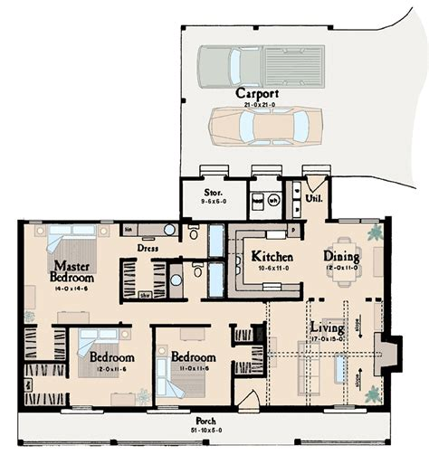 ranch design is ideal starter home 8429jh 1st floor