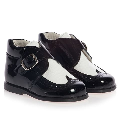 children s classics boys black and white patent leather