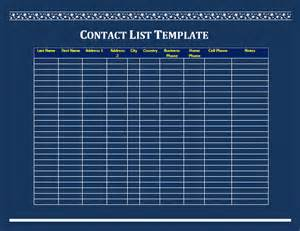 Word Contact List Template Contact List Template Free Microsoft Word Templates
