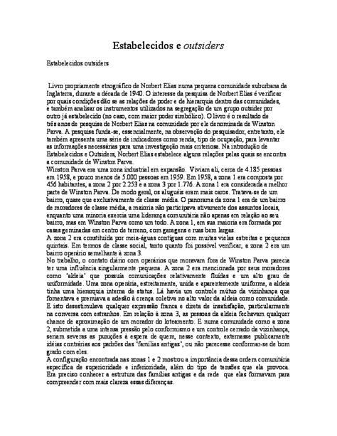 (PDF) Resumo de Estabelecidos e Outsiders de Norbert Elias