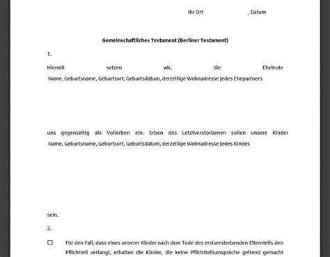 Testament Notariell Beglaubigen by Berliner Testament Muster Freeware De