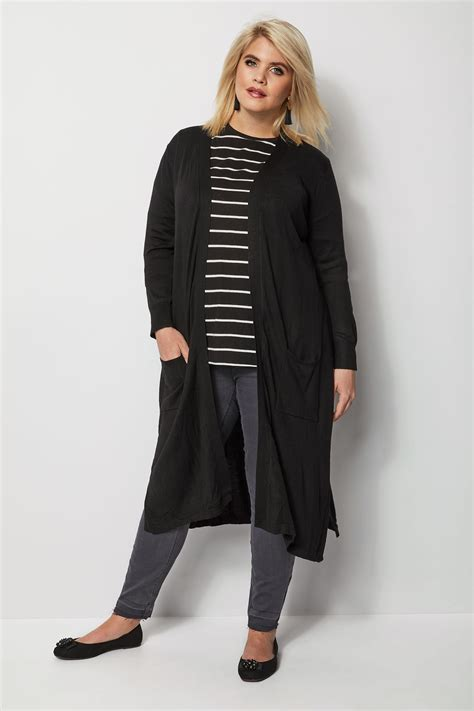 Napoclean Strong By Nry Fashion black knit longline cardigan