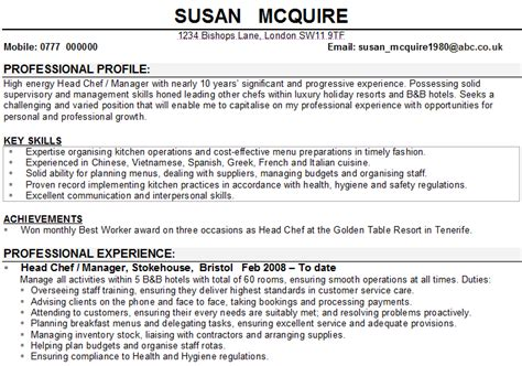 Sample Resume Title by Chef Cv Sample
