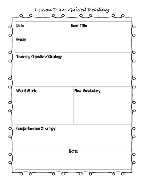 Guided Reading Lesson Plan Template For The Classroom Pinterest Guided Reading Lesson Small Lesson Plan Template