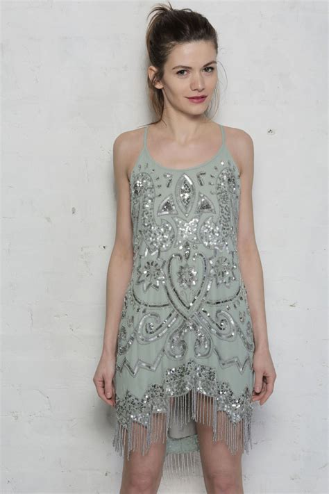 green beaded dress pale green flapper dress 1920s beaded dresses