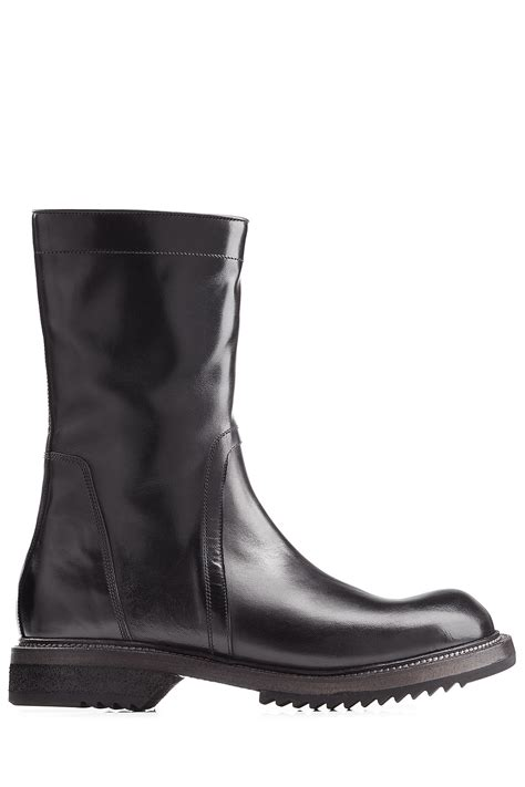 rick owens leather boots black in black for save