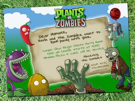 plants vs zombies invitation template plants vs zombies invitation digital