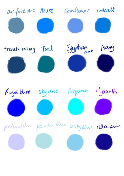 shades of blue chart shades of blue color names http gilliansblog wordpress