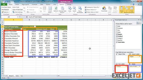 how to add pivot table in excel excel tutorial how to add fields to a pivot table
