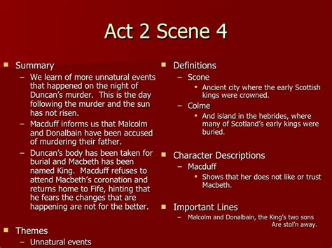 themes of macbeth act 1 scene 5 macbeth act 2 notes teacher