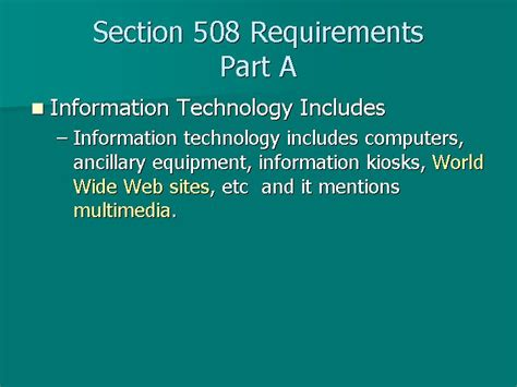 Section 508 Requirements slides and notes for podcasts vodcasts and accessibility