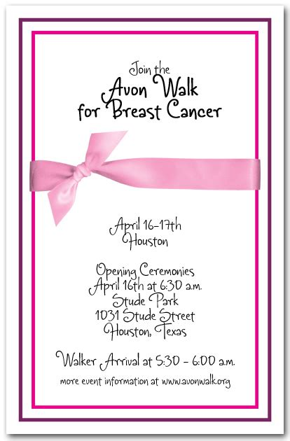 Invitation Letter With Ribbon Breast Cancer Pink Ribbon Invitations