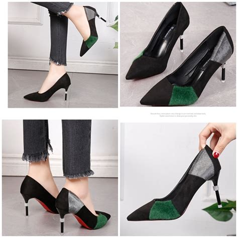 Sepatu Wanita Angeline 5cm Size Suede Size 35 39 jual shh602 green sepatu suede pesta wanita 7 5cm