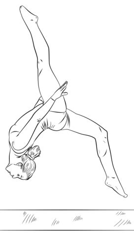 cute gymnastics coloring pages gymnast on a beam coloring page free printable coloring