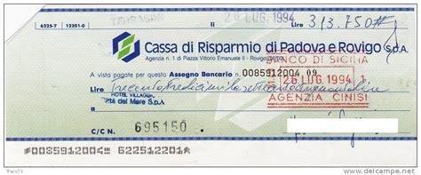 Banca E Rovigo by Cassa Di Risparmio Di E Rovigo Assegno Bancario