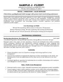 sle retail manager resume retail operations and sales