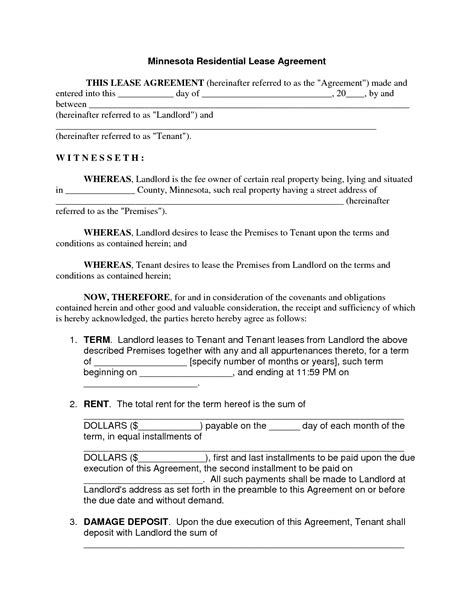 Rental Lease Agreement Template Free Rental Lease Template Free
