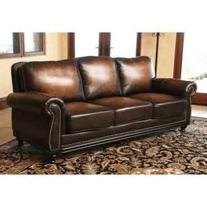 abbyson living barclay leather sofa in espresso ci n180