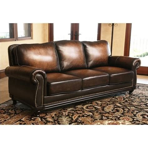 Abbyson Leather Sofa Abbyson Living Barclay Leather Sofa In Espresso Ci N180 Brn 3