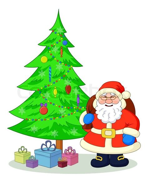 img of santa claus and x mas tree santa claus and tree stock photo colourbox