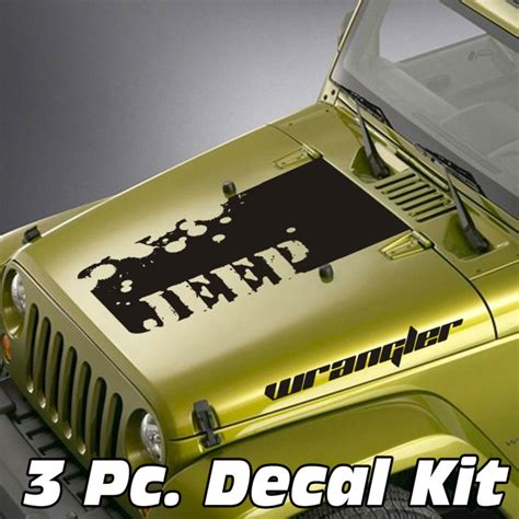 jeep lettering decal jeep wrangler 3 pc distressed jeep lettering wrangler