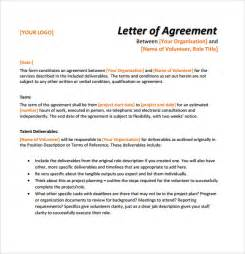 Agreement Letter Draft Sle Letter Of Agreement 8 Exle Format