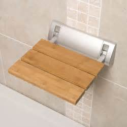 bamboo wooden folding shower seat wide base bathroom