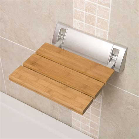 Bathroom Seats For Showers Bamboo Wooden Folding Shower Seat Wide Base Bathroom Accessory Fixture Contemporary Shower