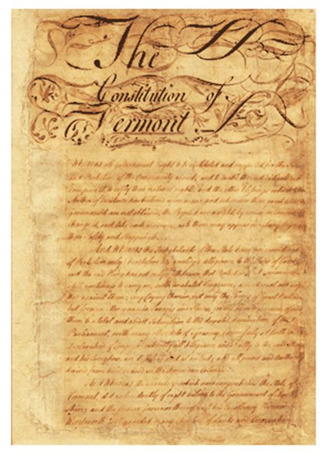 constitution printed for dissemination in new york state with george the 1777 vermont constitution