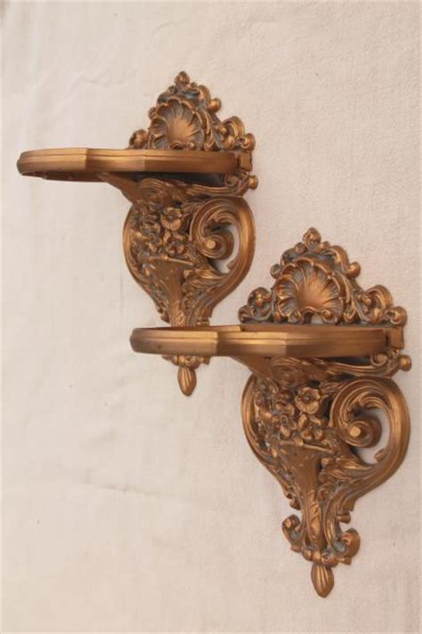 Rococo Shelf by Vintage Cameo Creations Gold Rococo Plastic Wall Mount