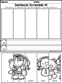 Kindergarten Sentence Building Worksheets by Kindergarten Sentence Building Winter Edition By