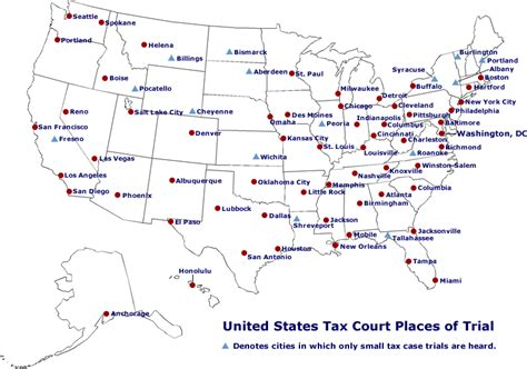 us cities map united states tax court places of trial