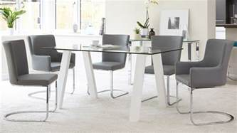 Glass Top Dining Table For 6 6 Seater Glass And White Gloss Dining Table Kendell