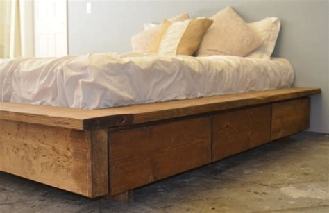 king size platform bed  drawers plans rustic hand