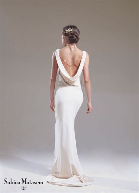 Cowl Back Wedding Dress Uk   Insured Fashion