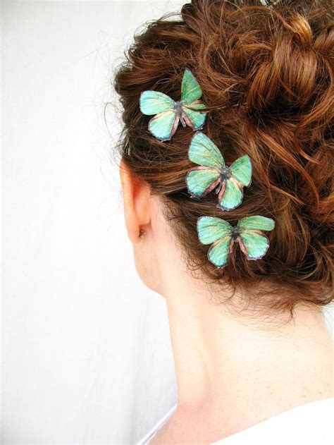 Handmade Hairclips - three handmade emerald green silk butterfly hair