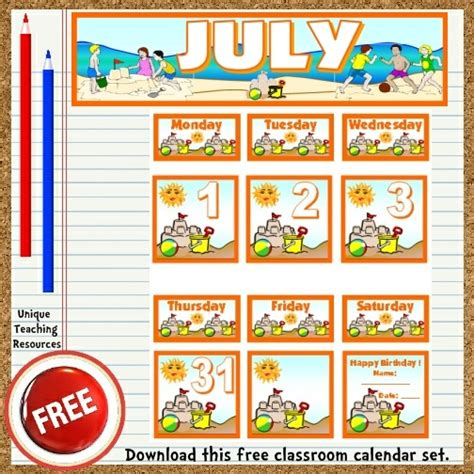 printable calendar resources free printable july classroom calendar for school teachers