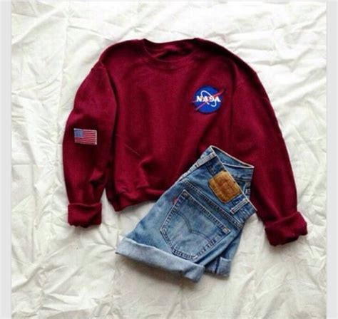 Hoodie Nasa Roffico Cloth 1 sweater nasa hoodie pretty fashion burgundy