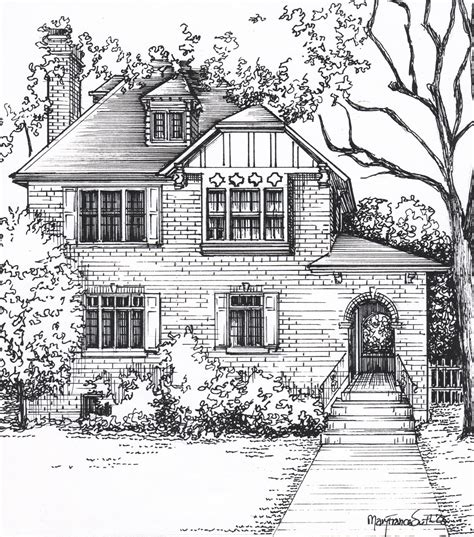 customize house custom house sketch hand drawn home portrait in ink