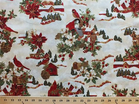 cotton christmas cardinals birdhouses poinsettias holly berries mailbox presents snow snowflakes