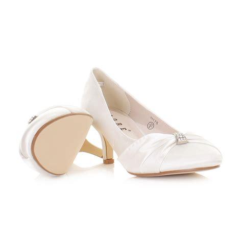 white wedding low kitten heel bridal satin diamante