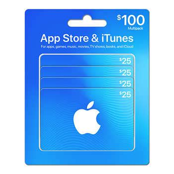 Costco Itunes Gift Card - 100 multipack 4 x 25 itunes cards