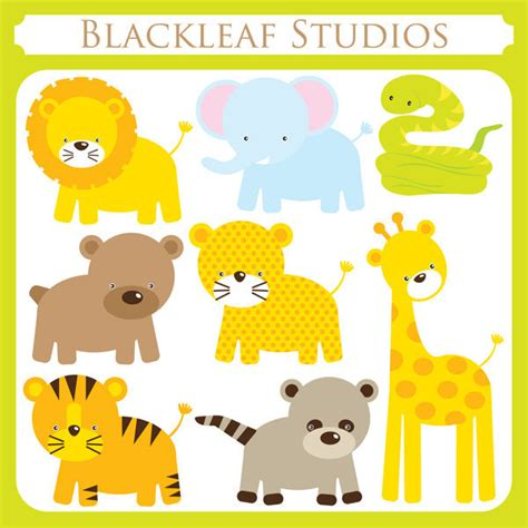 printable jungle animal images baby jungle animals clipart set digital download images