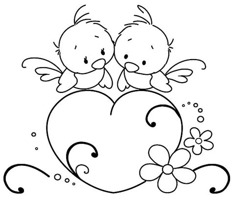 bird heart love coloring pages
