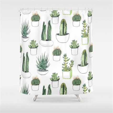 cactus shower curtain watercolour cacti and succulent shower curtain nice