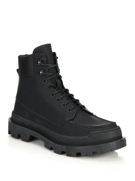 prada hiking boots lyst prada lug sole leather hiking boots in black for
