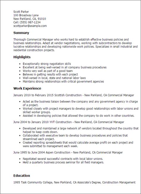 Resume Sles Commercial Manager Professional Commercial Manager Templates To Showcase Your Talent Myperfectresume