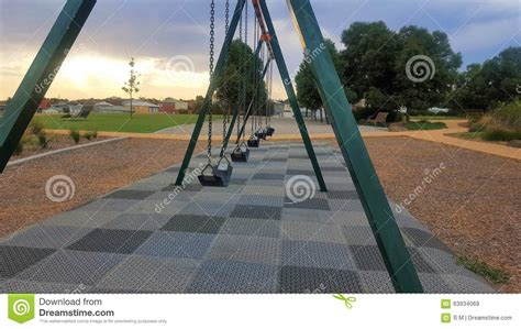 swing row children s playground swings stock photo image 63934069