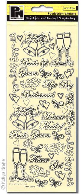 Wedding Bell Rubber St by Pearlescent Stickers Chagne Wedding Bells 1 Sheet
