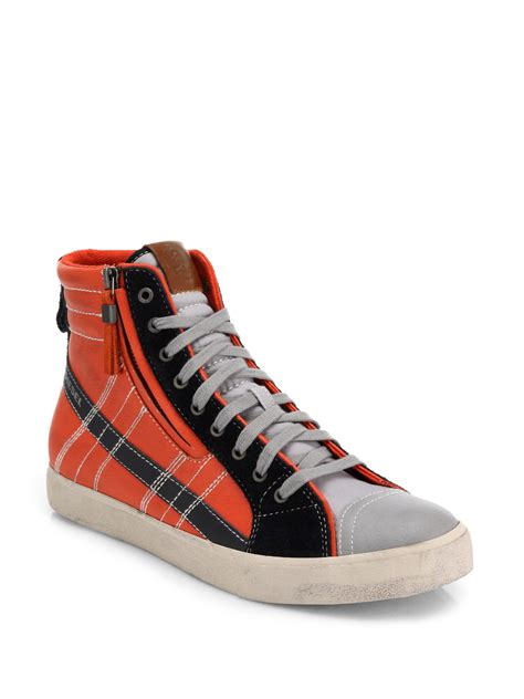 diesel sneakers lyst diesel vellows high top sneakers in orange